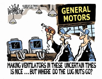 Editorial Cartoon U.S. General Motors makes ventilators coronavirus crisis lug nuts mishap
