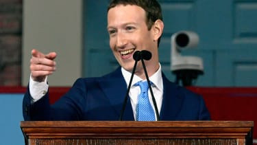 Mark Zuckerberg delivers the commencement address at Harvard.