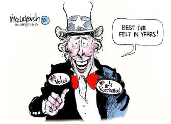 Editorial Cartoon U.S. Uncle Sam COVID vaccines