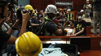 Protesters inside Hong Kong's Legislative Council building.