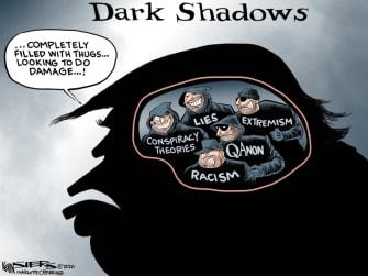Political Cartoon U.S. Trump Fox News interview dark shadows