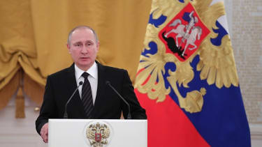 Russian President Vladimir Putin delivers a speech ahead of the new year.