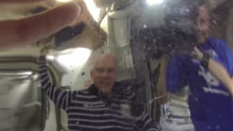 This is what the International Space Station looks like from inside a water glob