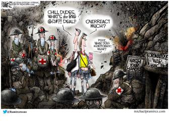 Editorial Cartoon U.S. asymptomatic no guard medics protect at all cost