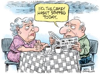 Editorial Cartoon U.S. Crazy news Trump COVID