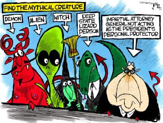 Political Cartoon U.S. Bill Barr mythical creatures Trump