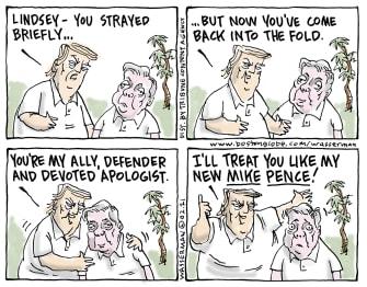 Political Cartoon U.S. Trump lindsey graham pence