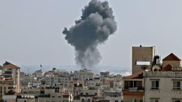 Smoke from Israeli airstrikes in Gaza.