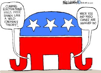 Political Cartoon U.S. GOP conspiracy theories