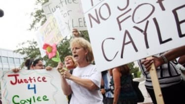 Protesters outside the courtroom where Casey Anthony was tried