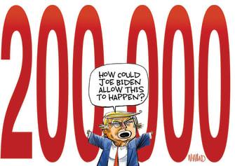Political Cartoon U.S. Trump 200000 covid deaths