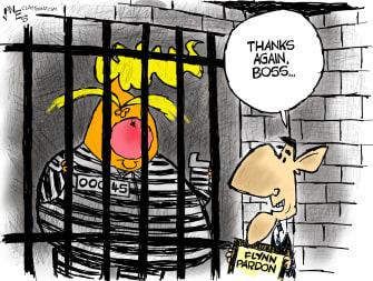 Political Cartoon U.S. Trump Flynn pardon