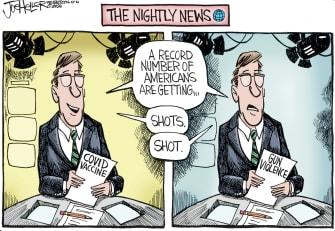 Editorial Cartoon U.S. covid vaccines mass shootings