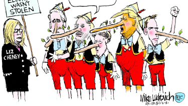 Political Cartoon U.S. liz cheney trump election lies gop