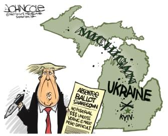 Political Cartoon U.S. Trump michigan voting ukraine