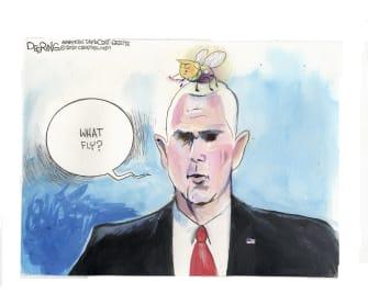 Political Cartoon U.S. Pence fly Trump
