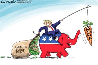 Political Cartoon U.S. trump cpac gop 2024