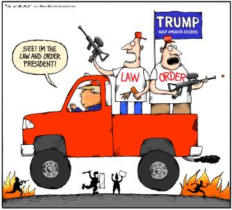 Political Cartoon U.S. Trump MAGA law and order