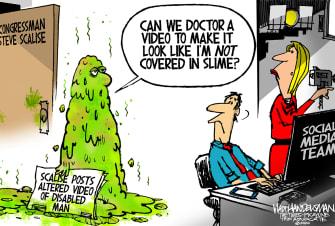 Political Cartoon U.S. Steve Scalise doctored video