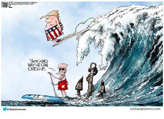 Political Cartoon U.S. Biden Trump election wave