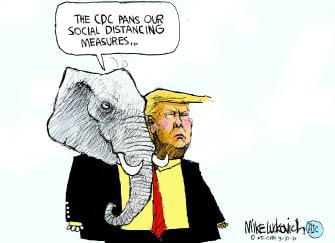 Political Cartoon U.S. trump gop social distancing
