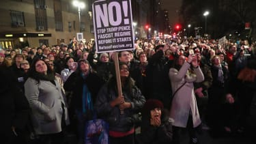Anti-Trump protesters in New York City.