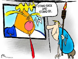 Political Cartoon U.S. Trump debate proud boys white supremacy