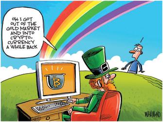 Editorial Cartoon U.S. bitcoin crypto leprechaun