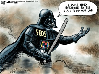 Political Cartoon U.S. Portland federal agents Darth Vader