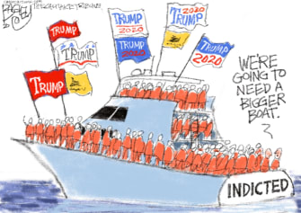 Political Cartoon U.S. Trump Bannon yacht indictment arrested