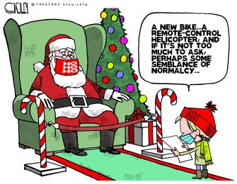 Editorial Cartoon U.S. 2020 Christmas COVID