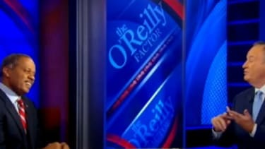 Juan Williams listens to Bill O'Reilly's list of reasons why he is better off for having been fired.