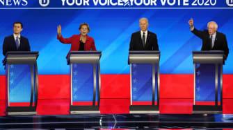 Pete Buttigieg, Elizabeth Warren, Joe Biden, and Bernie Sanders.