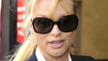 """Nicollette Sheridan arrives in court where she is suing """"Desperate Housewives"""" creator Marc Cherry for wrongful termination."""