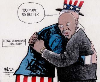 Political Cartoon U.S. Missing Elijah Cummings