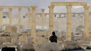 A Syrian soldier in Palmyra in May 2016.