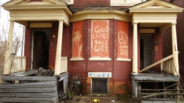 A dilapidated block in Detroit.