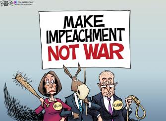 Political Cartoon U.S. Trump impeachment Iran war Pelosi Schumer