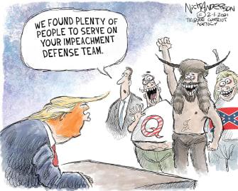 Political Cartoon U.S. Trump impeachment defense qanon