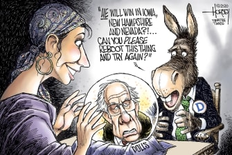 Political Cartoon U.S. Bernie Sanders Democrats Iowa Caucuses primaries voters 2020 election