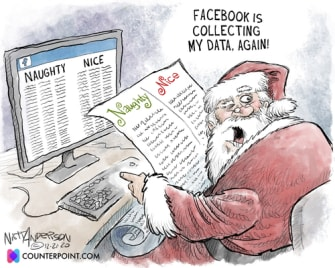 Editorial Cartoon U.S. Santa Claus Facebook data