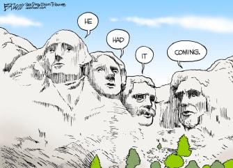 Political Cartoon U.S. Mount Rushmore Thoughts Trump Impeachment