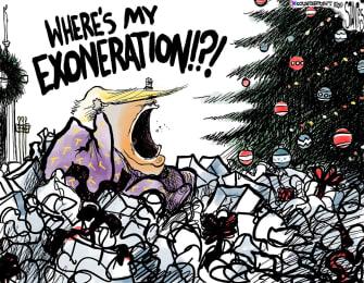 Political Cartoon U.S. Trump Christmas Morning No Exoneration Gift