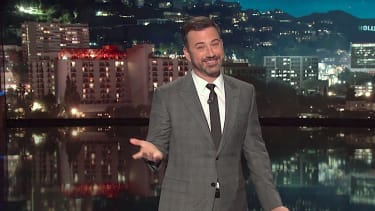 Jimmy Kimmel looks at a Trump-The Rock election fight