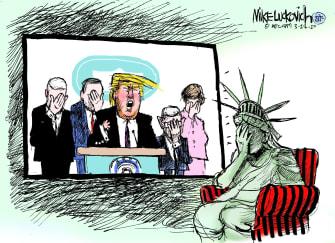 Political Cartoon U.S. Trump Dr. Fauci Coronavirus Lady Liberty embarrassing briefing
