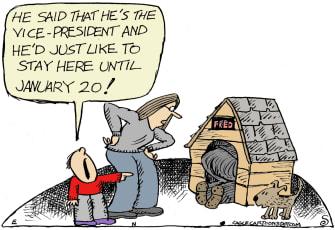 Political Cartoon U.S. Pence Trump Doghouse Inauguration Day 2021