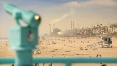 Air pollution near Manhattan Beach, Calif.