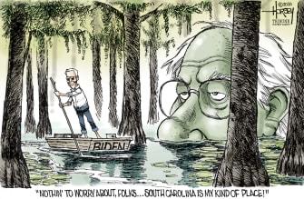 Political Cartoon U.S. Biden South Carolina Bernie swamp