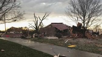 A damaged house.