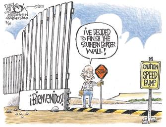 Political Cartoon U.S. biden border wall welcome migrants
